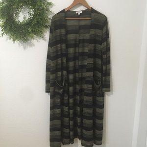 Lularoe Sarah Black/Sage Green Stripe Cardigan